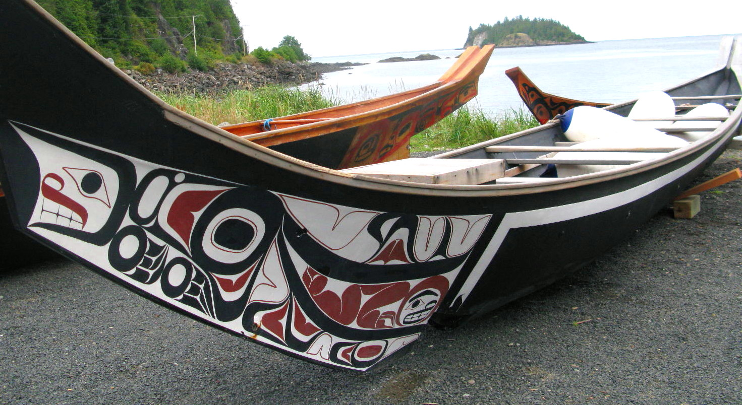 Canoes in front of the museum in Haida Gwaii.